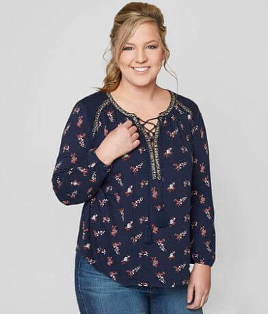 Lucky Brand Ditsy Peasant Top - Plus Size Only