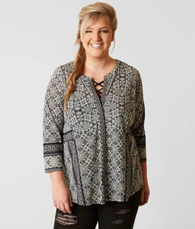 Lucky Brand Geo Print Shirt - Plus Size Only