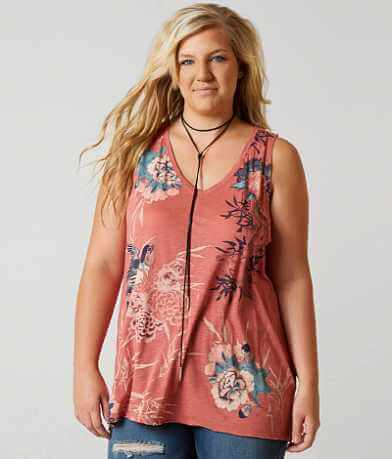 Lucky Brand Bird Scroll Tank Top - Plus Size Only