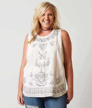 Lucky Brand Embroidered Tank Top - Plus Size Only