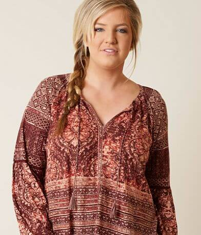 Lucky Brand Printed Top - Plus Size Only