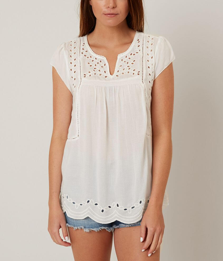 Lucky Brand Embroidered Eyelet Top front view