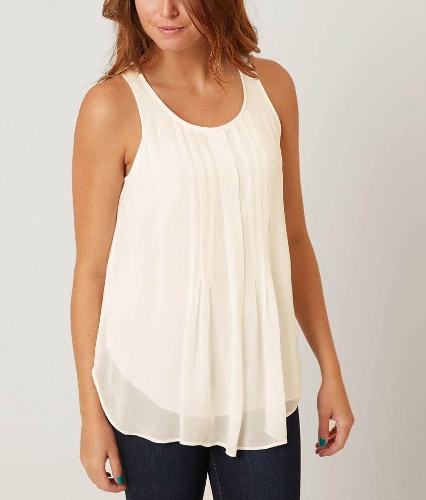 Lucky Brand Pleated Overlay Tank Top front view