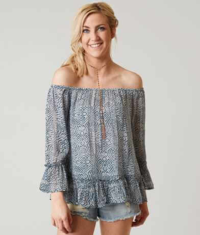 Lucky Brand Blue Maze Printed Top