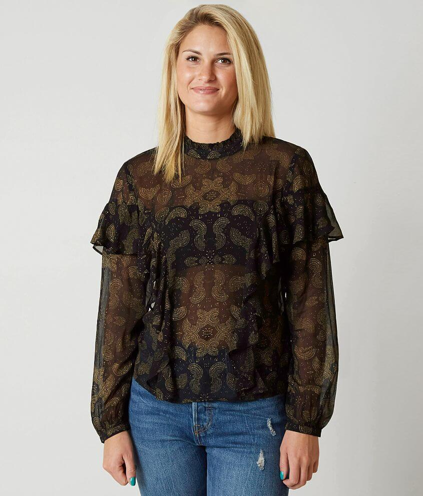 Lucky Brand Sheer Ruffle Blouse front view