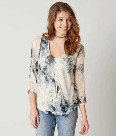 Lucky Brand Floral Peasant Top