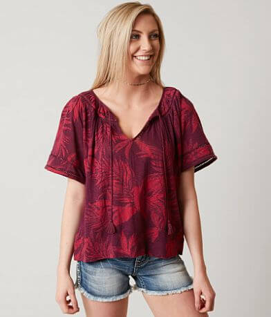 Lucky Brand Tropical Leaves Top