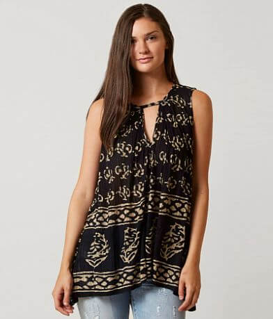 Lucky Brand Printed Cut-Out Tank Top