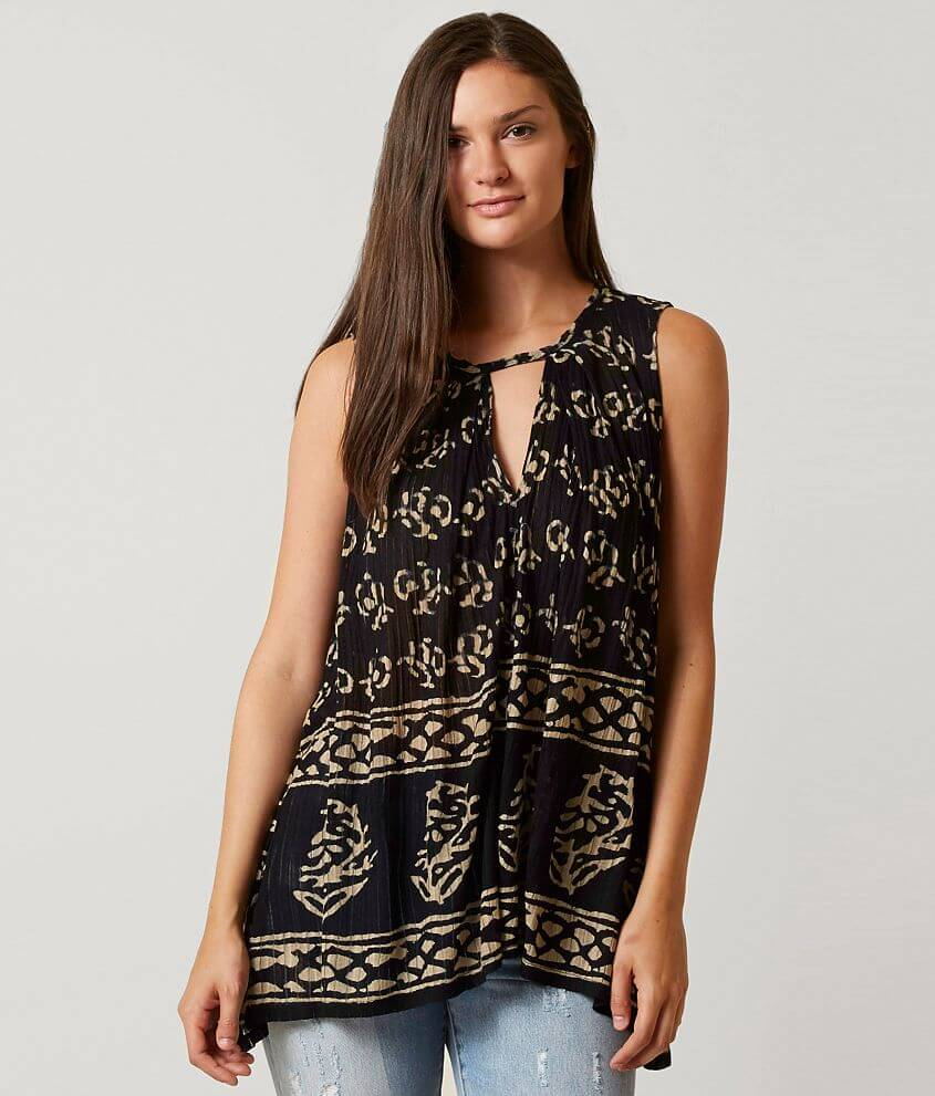 6466fa05ed8cd Lucky Brand Printed Cut-Out Tank Top - Women s Tank Tops in Black ...