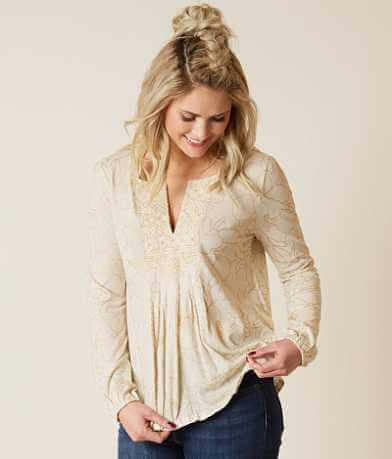 Lucky Brand Foil Peasant Top