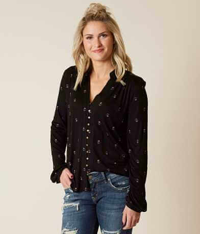 Lucky Brand Ditsy Button Top