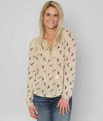 Lucky Brand Ditsy Peasant Top