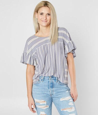 Lucky Brand Striped Ruffle Top