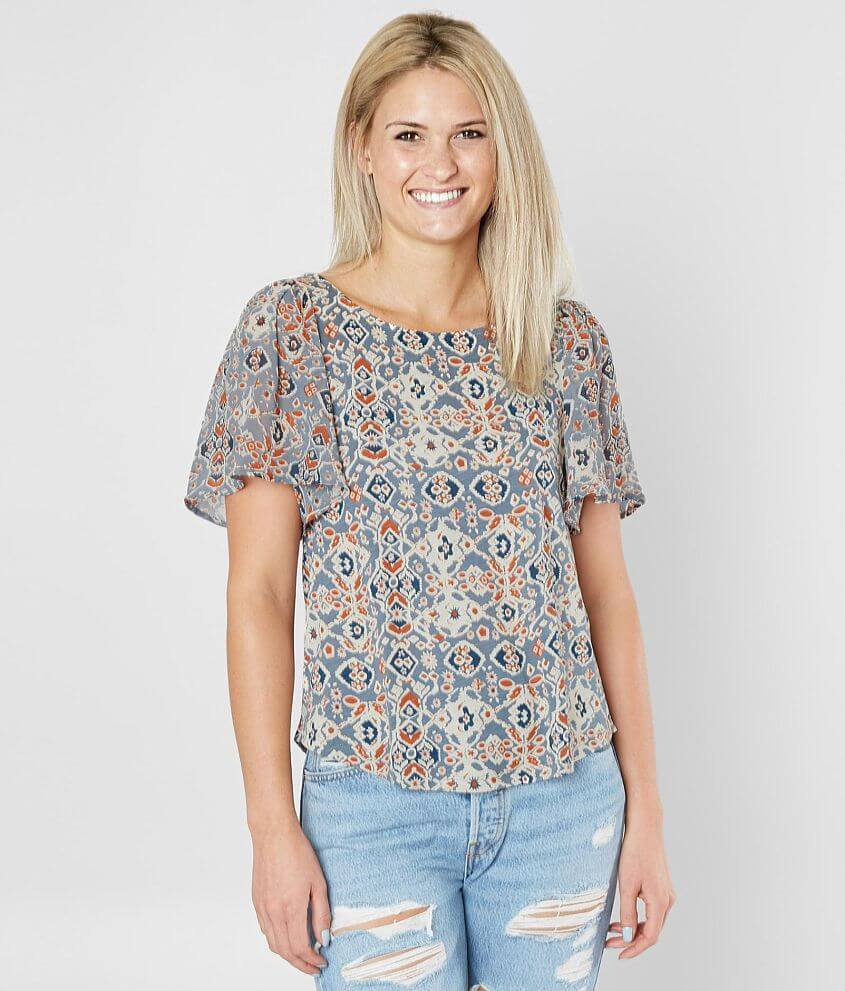 Lucky Brand Mosaic Chiffon Top front view