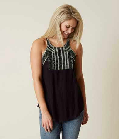Lucky Brand Beaded Velvet Tank Top