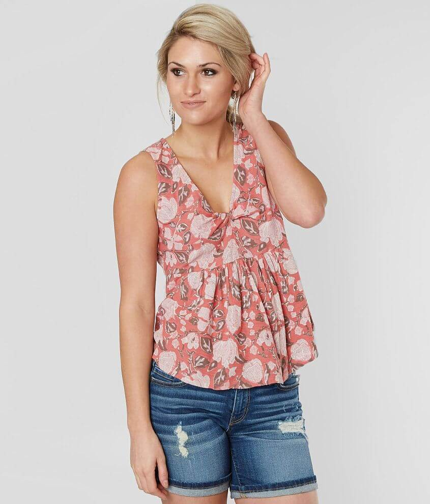 Lucky Brand Floral Peplum Tank Top front view