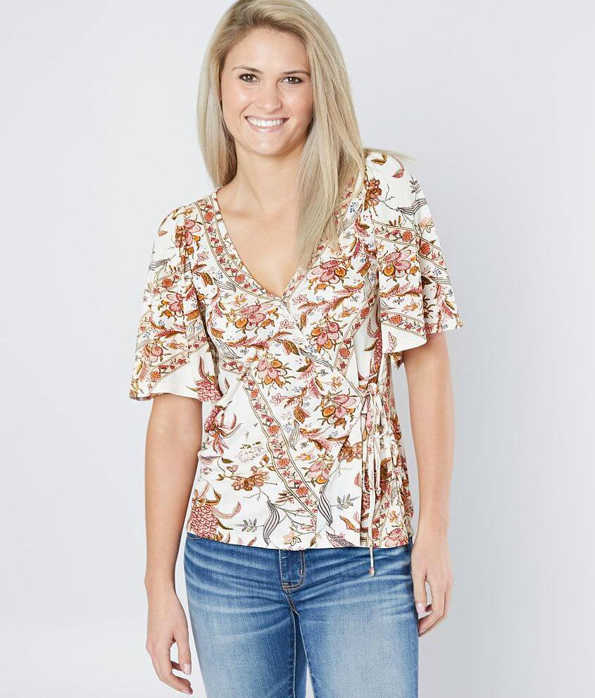 Lucky Brand Floral Wrap Top front view