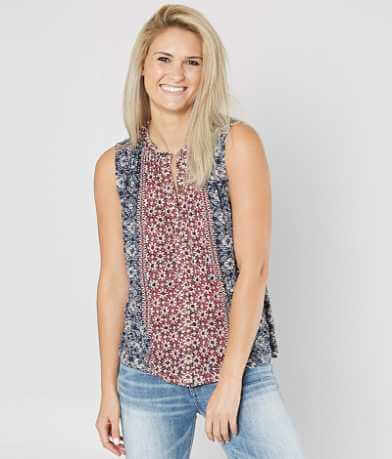 Lucky Brand Floral Ruffle Tank Top