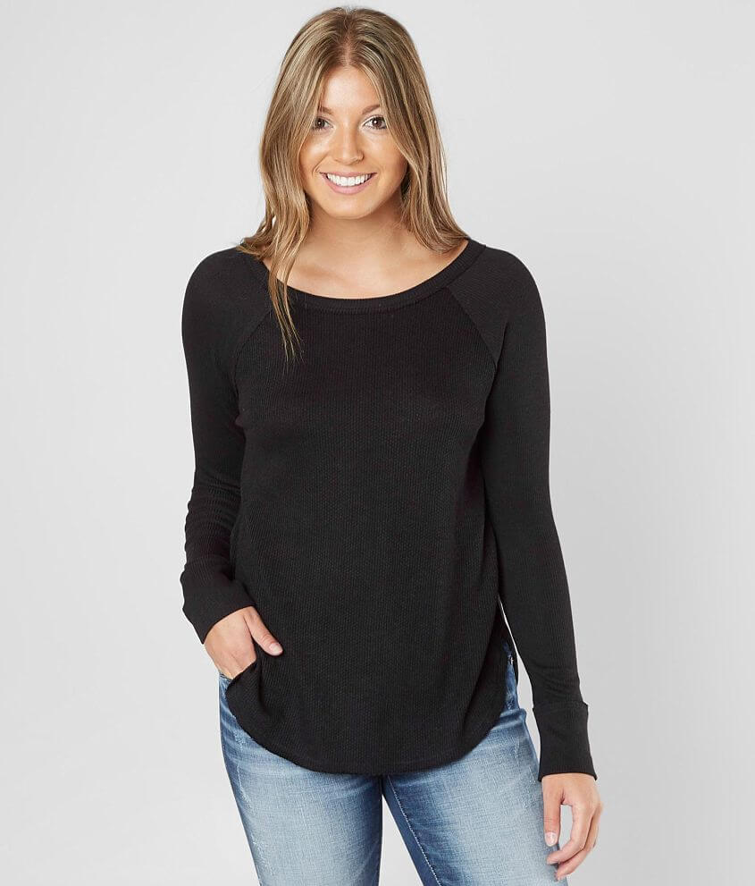 Lucky Brand Ribbed Thermal Top front view