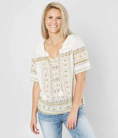 Lucky Brand Tile Split Neck Top