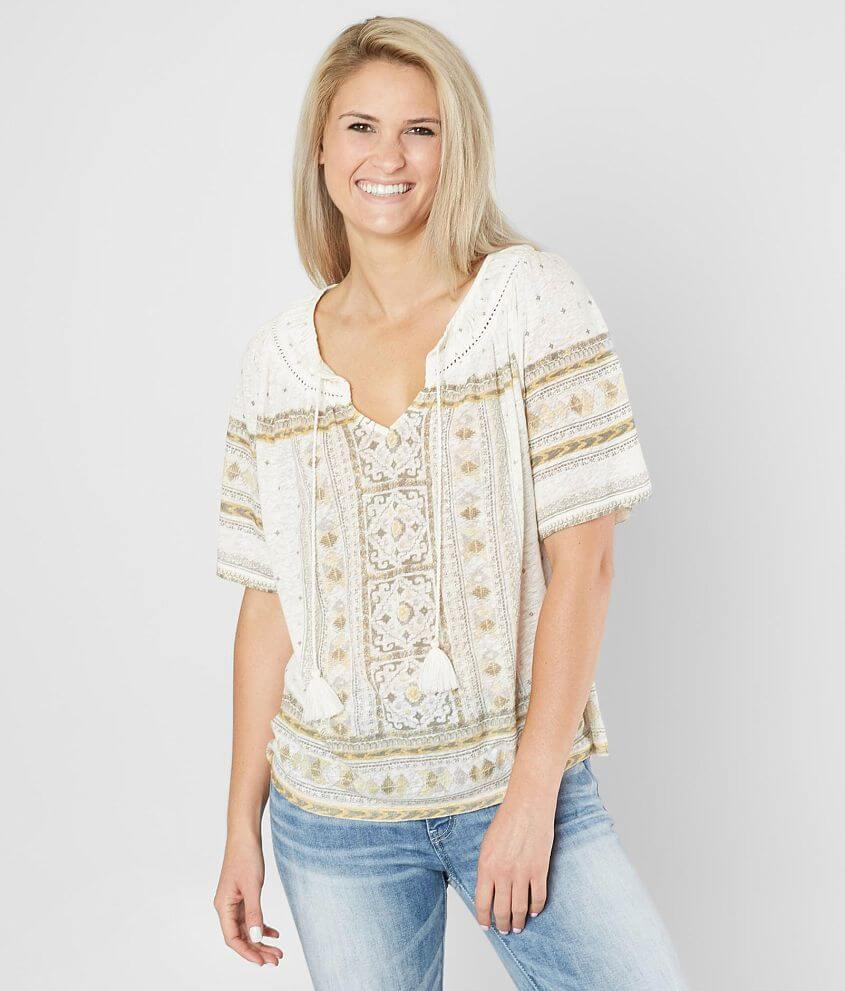 Lucky Brand Tile Split Neck Top front view