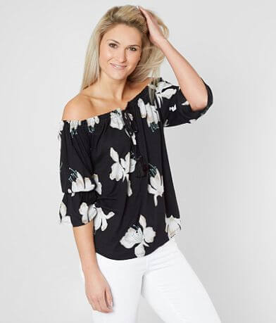 Lucky Brand Floral Off The Shoulder Top