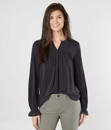 Lucky Brand Ruched Split Neck Top