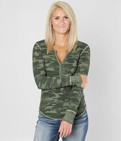 Lucky Brand Camo Thermal Henley Top