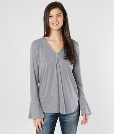 Lucky Brand Metallic V-Neck Henley Top