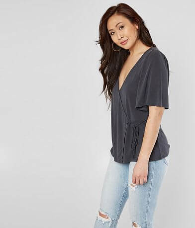 c827925aa3522 Lucky Brand Solid Sand Wash Wrap Top
