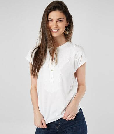 Lucky Brand Floral Embroidered Henley Top