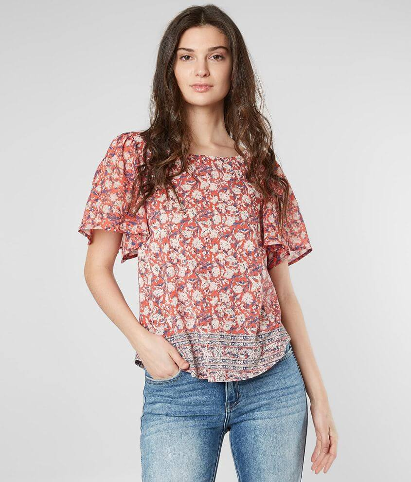 Lucky Brand Woven Floral Blouse front view