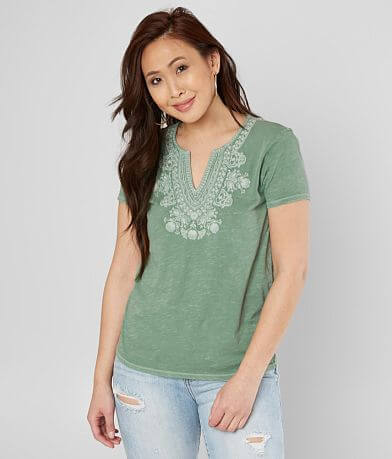 Lucky Brand Embroidered V-Neck Top