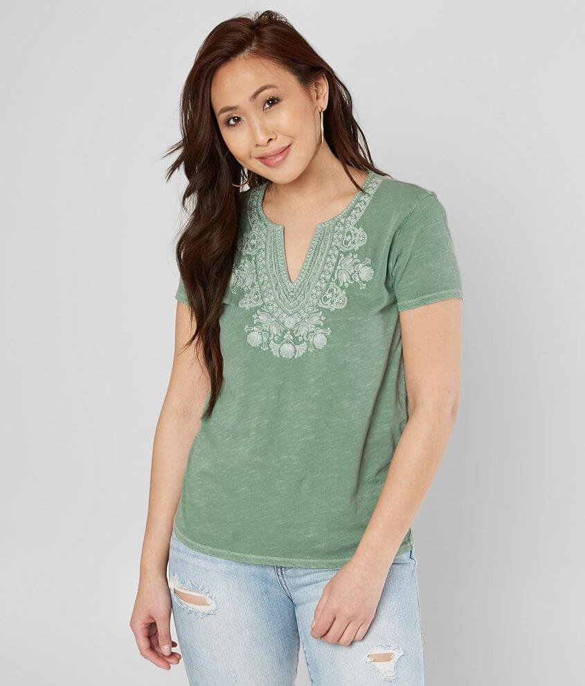 Lucky Brand Embroidered V-Neck Top front view