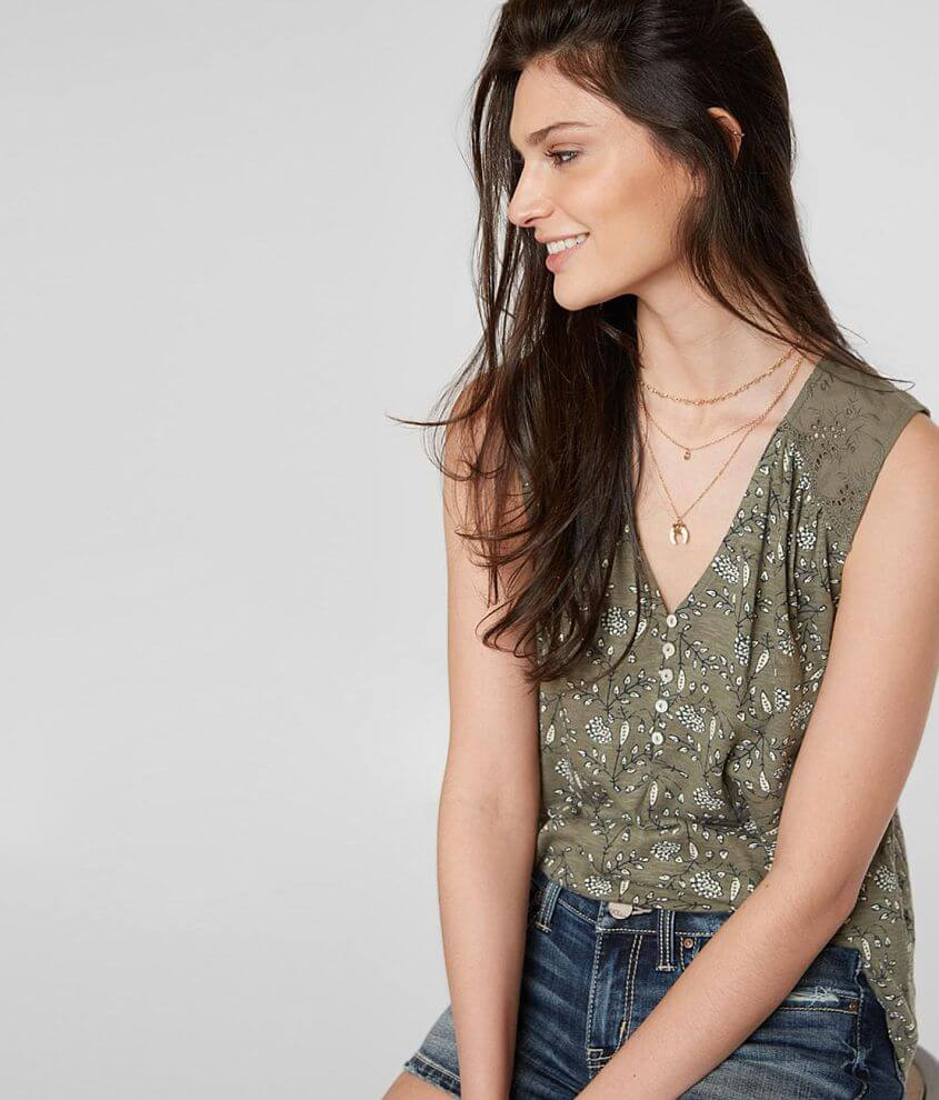 Lucky Brand Floral Henley Tank Top front view
