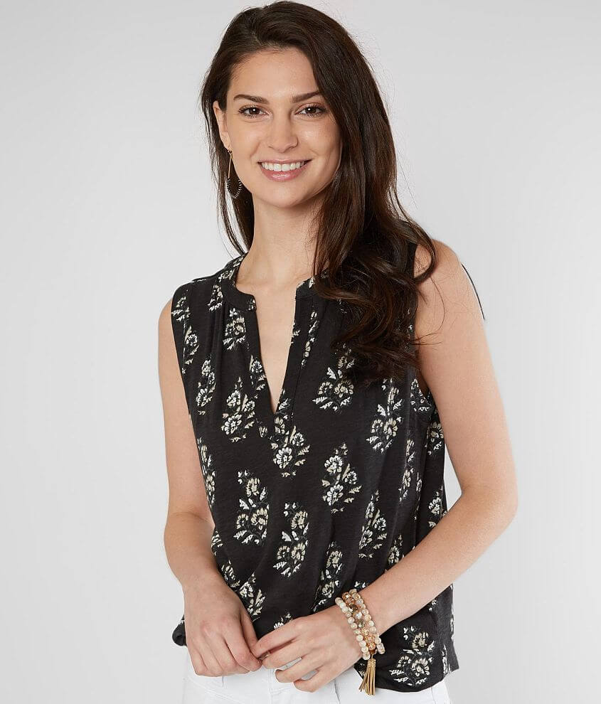 Lucky Brand Floral Split Neck Tank Top front view