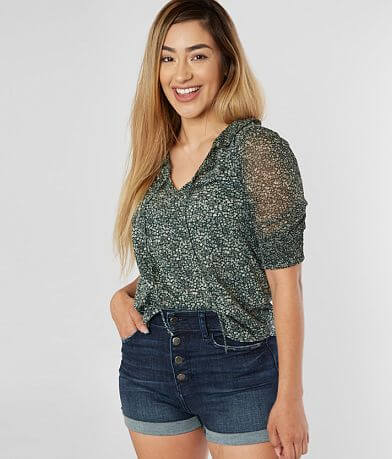 Lucky Brand Pieced Floral Top