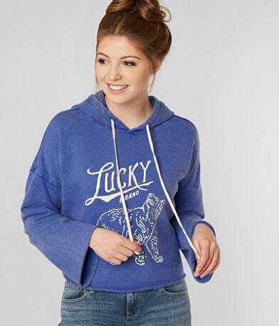 Lucky Brand Lucky Bear Cropped Hooded Sweatshirt