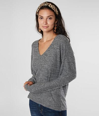 Lucky Brand Brushed Knit V-Neck Top