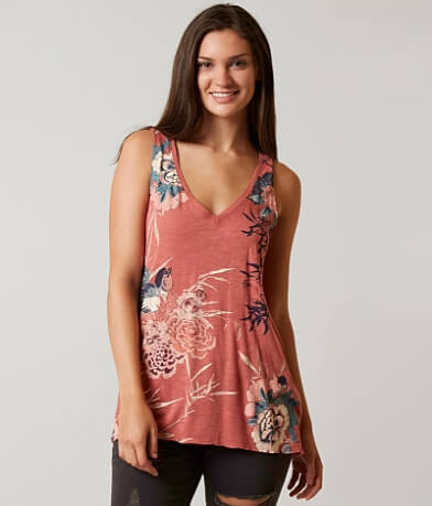 Lucky Brand Birds Flowers Scroll Tank Top