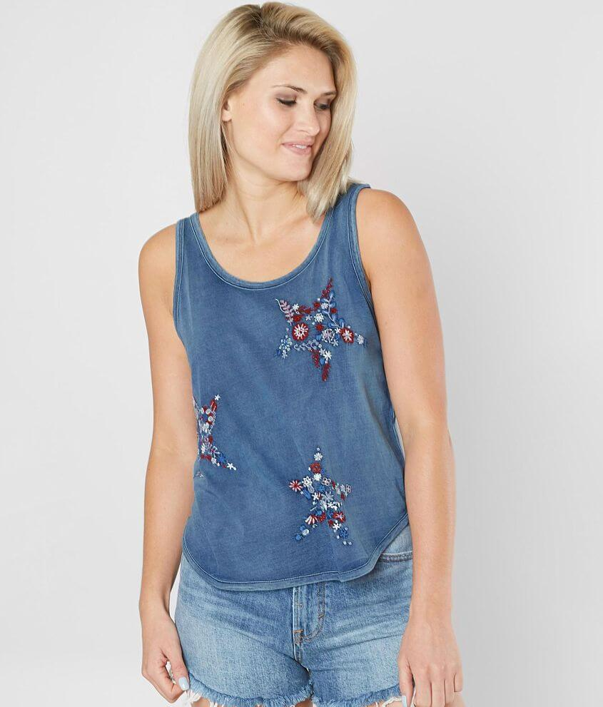Lucky Brand Floral Embroidered Tank Top front view