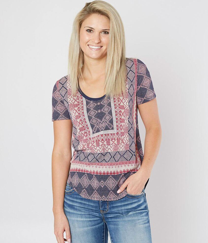 Lucky Brand Geometric Burnout Top front view
