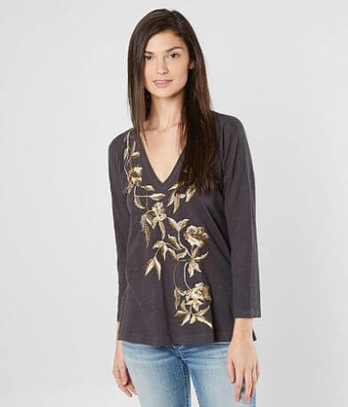 Lucky Brand Metallic Floral Top