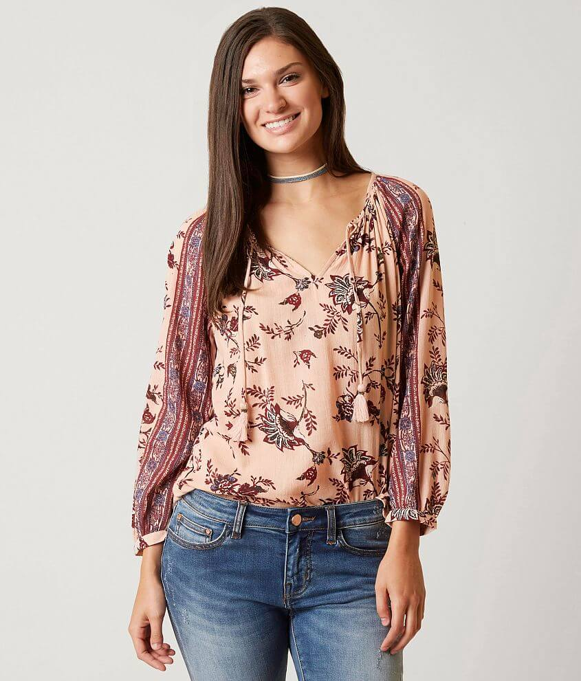 ddba4515d0e Lucky Brand Floral Peasant Top - Women's Shirts/Blouses in Pink ...