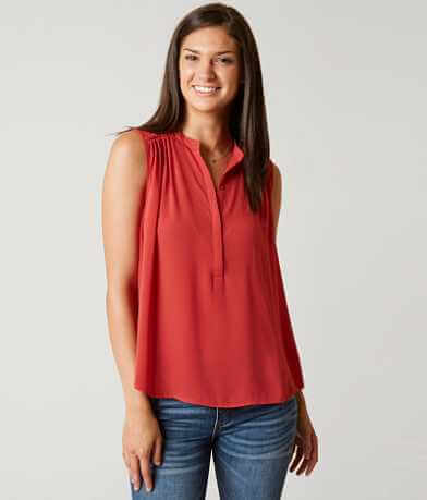 Lucky Brand Pleated Henley Tank Top