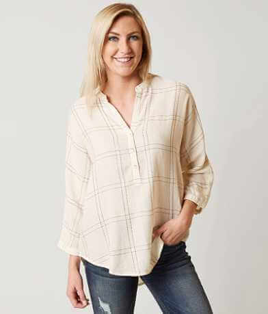 Lucky Brand Boyfriend Plaid Henley Top