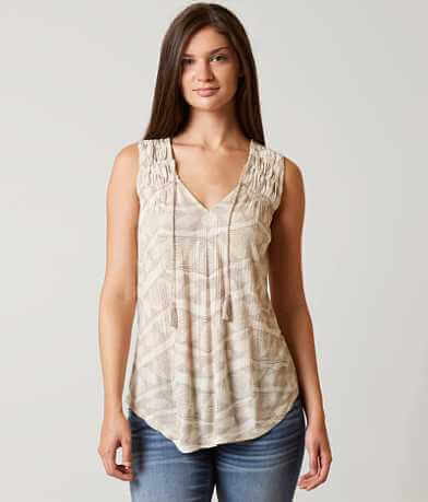 Lucky Brand Geo Smocked Tank Top