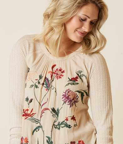 Lucky Brand Embroidered Floral Top