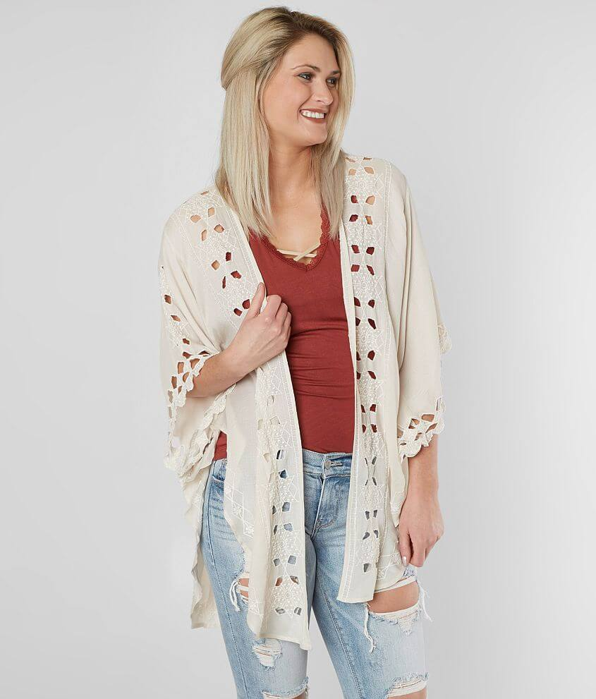 bb278bbe7 Lucky Brand Embroidered Flyaway Cardigan - Women's Kimonos in Stone ...