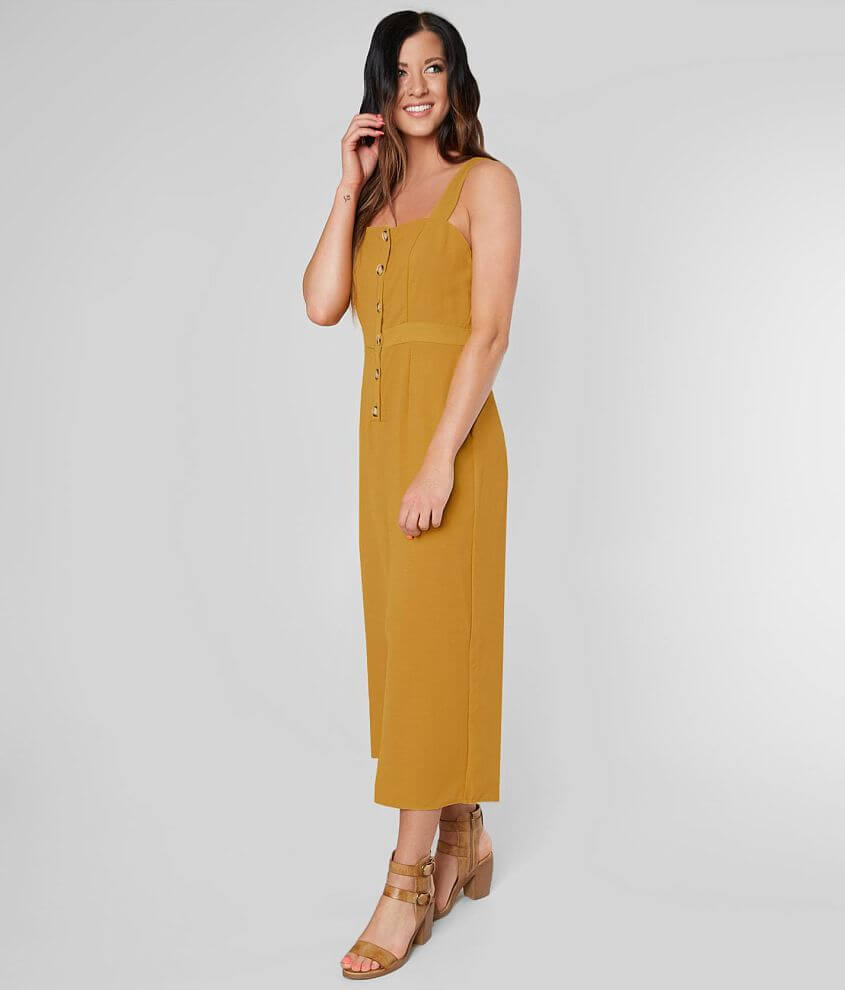 Daytrip Button Down Cropped Wide Leg Jumpsuit front view